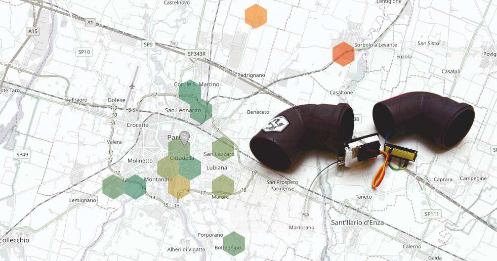 mappa pm10 parma e luftdaten