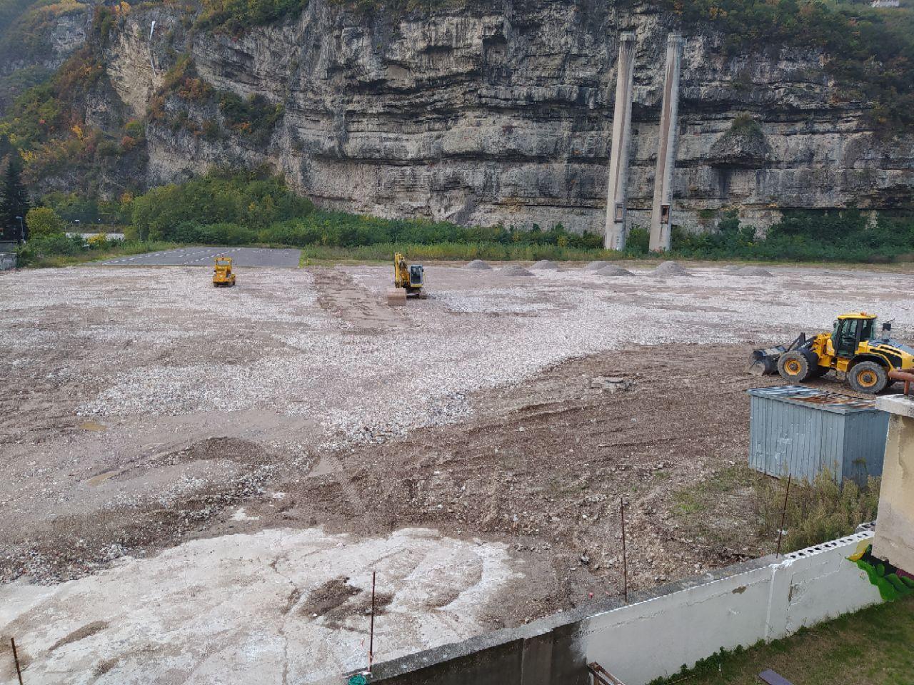 Lavori per la costruzione del parcheggio di Piedicastello