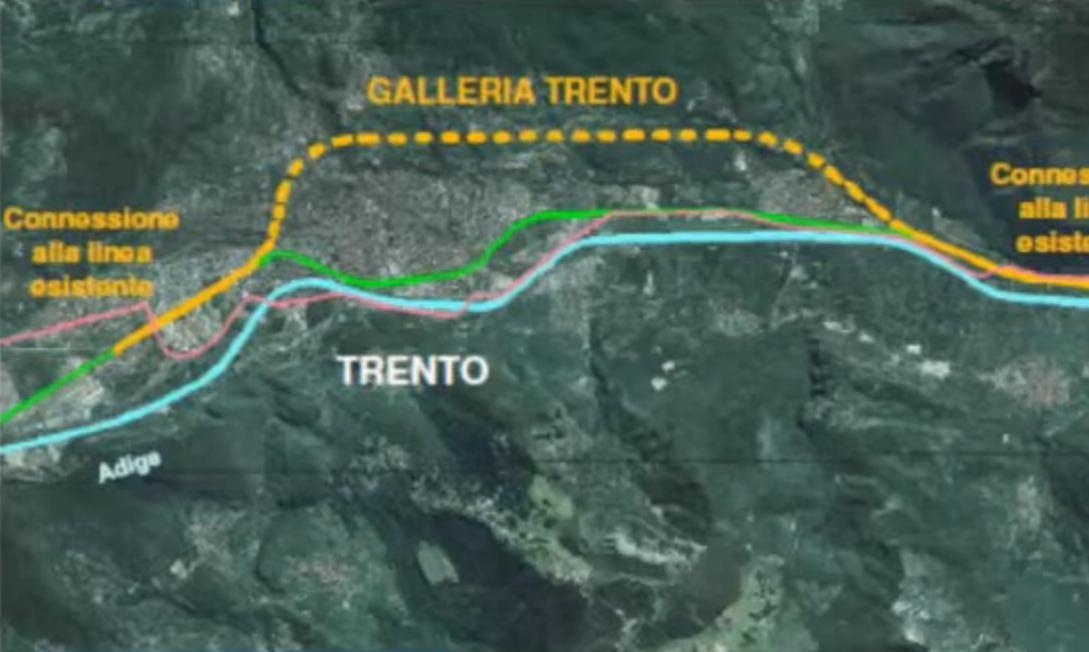 Lo schema della galleria TAV/AC della circonvallazione ferroviariadi Trento